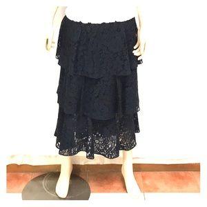 Zara Woman Lace Tiered Skirt M Navy